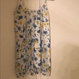 Blue and yellow sunflower shift dress
